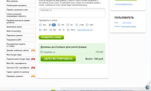 переход к регистрации домена