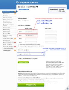 заполнение данных при регистрации домена