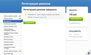 регистрация домена завершена